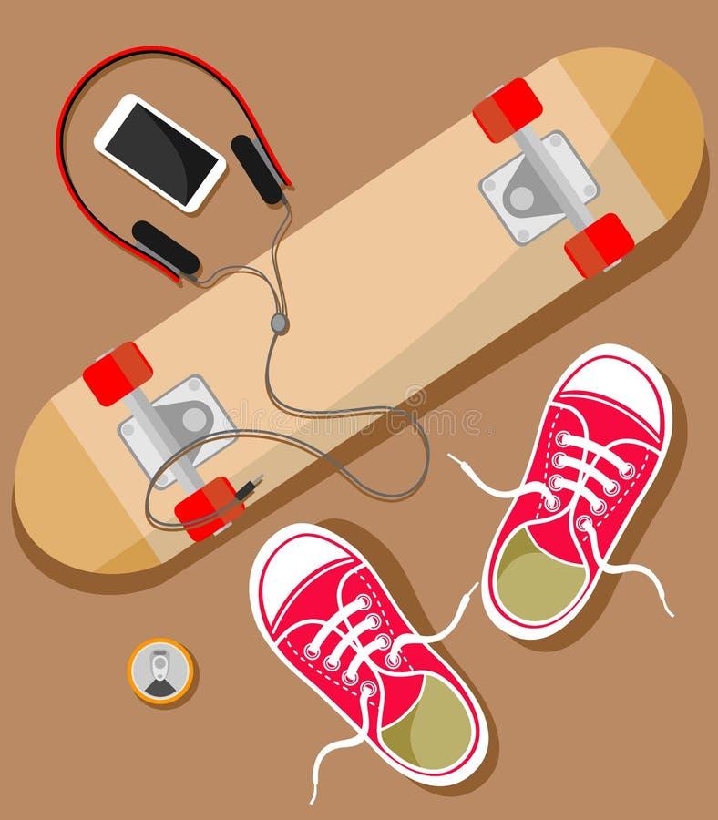 Ilustração com uma vista superior em um skate, em uma bebida, em um telefone celular e em uns fones de ouvido em um estilo liso ilustração stock