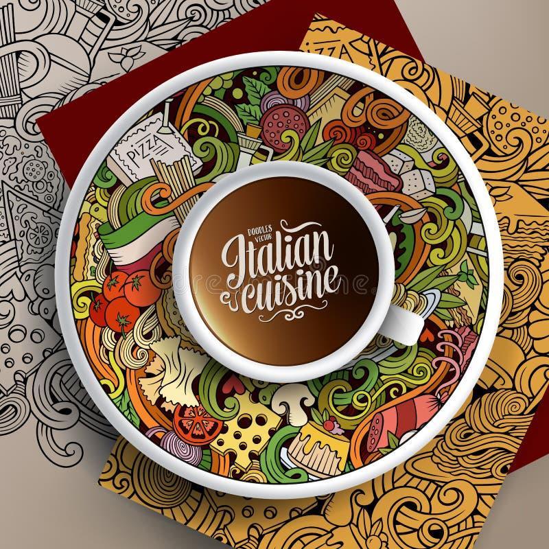 Ilustração com uma xícara de café e umas garatujas italianas do alimento ilustração stock