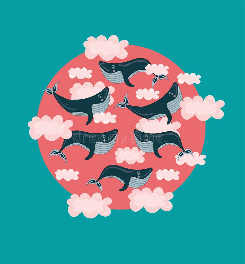 Ilustração com voo, baleias nadadoras das crianças do vetor, peixes em nuvens cor-de-rosa Grande ideal Sonho sobre Sonho, conceit ilustração do vetor