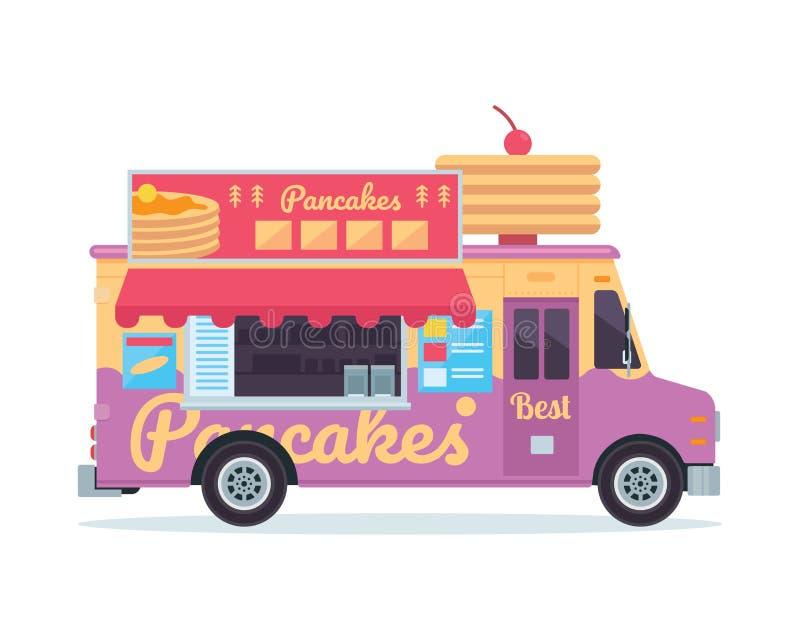 Ilustração comercial do veículo do caminhão do alimento da panqueca deliciosa moderna ilustração royalty free