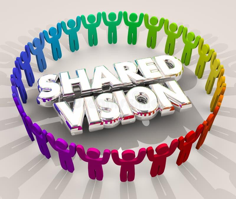 Ilustração compartilhada dos povos 3d da finalidade da missão do objetivo comum da visão ilustração stock