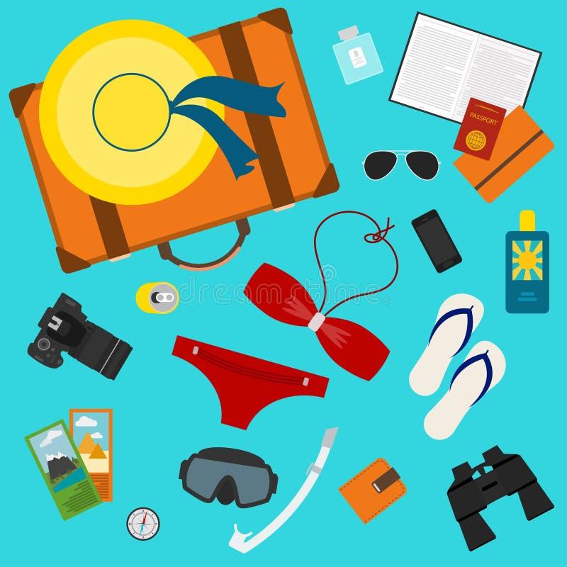 A ilustração conceptual com alguns objetos usou os povos modernos em férias isolados no fundo ou no uso azul brilhante no projeto ilustração stock
