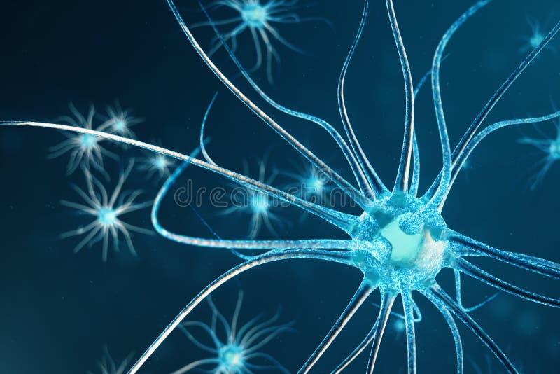 Ilustração conceptual de pilhas do neurônio connosco de incandescência da relação Neurônios no cérebro sobre com efeito de foco S ilustração do vetor