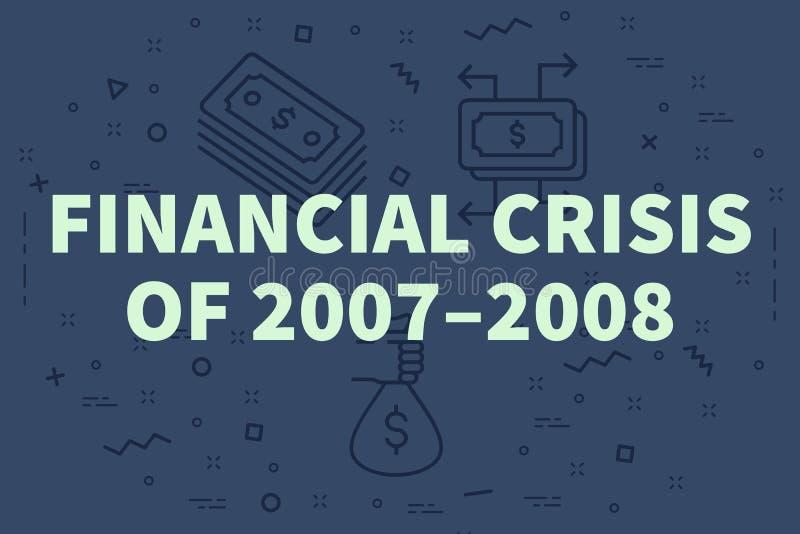 Ilustração conceptual do negócio com a crise financeira das palavras ilustração royalty free