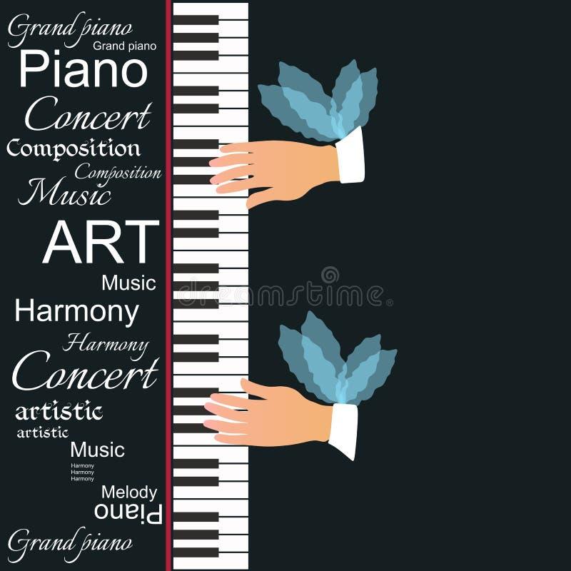 Ilustração conceptual do vetor com as mãos voadas que jogam as chaves do piano isolada no fundo preto ilustração royalty free
