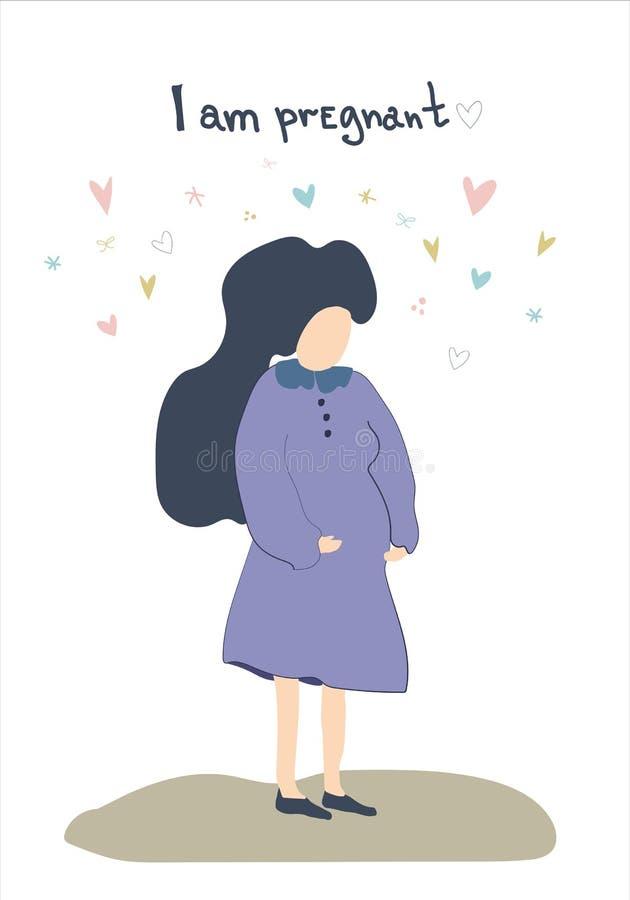 Ilustração conceptual tirada mão da mulher gravida imagens de stock