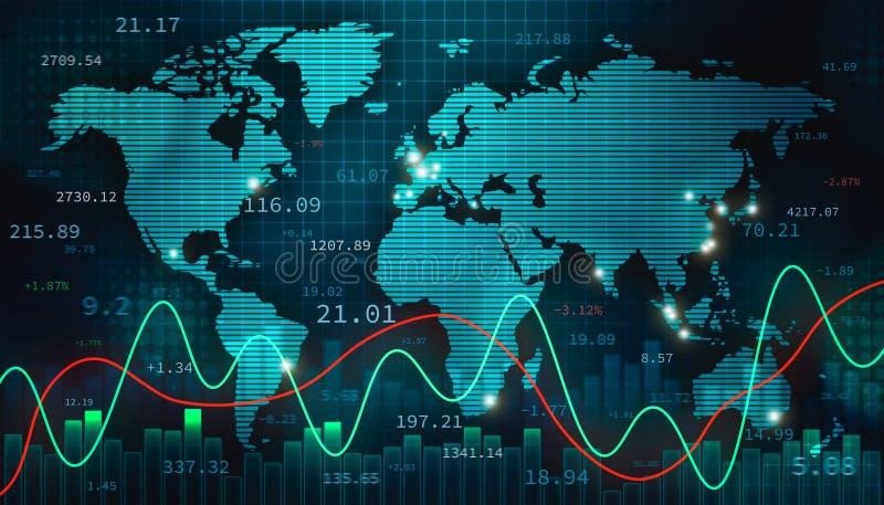 Ilustração conservada em estoque da divisa estrageira ou dos estrangeiros com o mapa do mundo, o infographics e os números Finanç ilustração stock