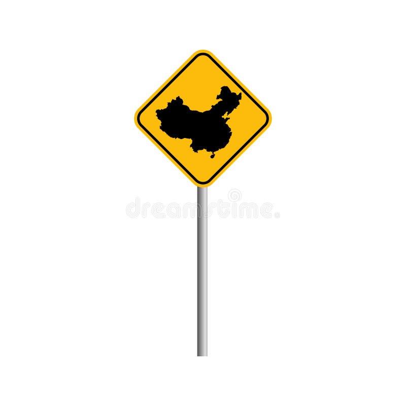 Ilustração conservada em estoque do vetor do ícone do mapa de CHINA do vetor com sinal de estrada s ilustração stock