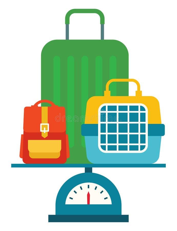 Ilustração conservada em estoque do vetor da bagagem diferente nas escalas ilustração do vetor