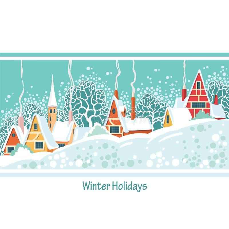 Ilustração conservada em estoque do vetor do dia de inverno do Natal em um reboque pequeno ilustração stock