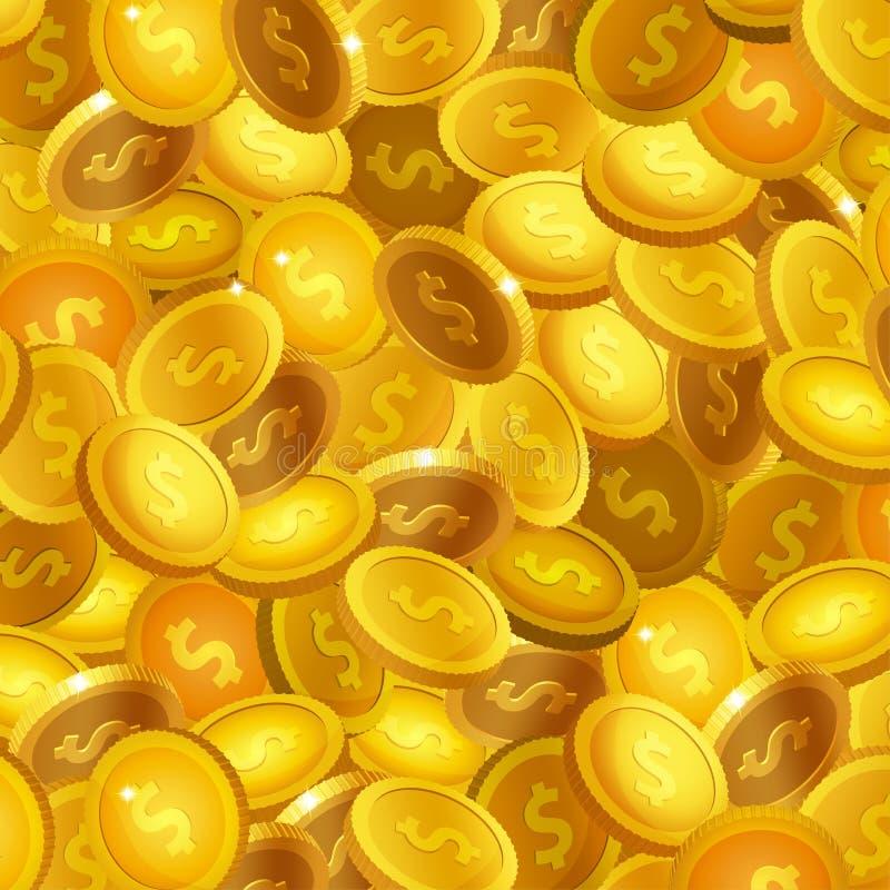 Ilustração conservada em estoque do vetor muitas moedas de ouro realísticas Fundo do tesouro Moeda dourada EPS10 ilustração royalty free