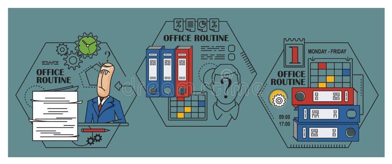 Ilustração conservada em estoque Infographic liso Rotina do escritório ilustração royalty free