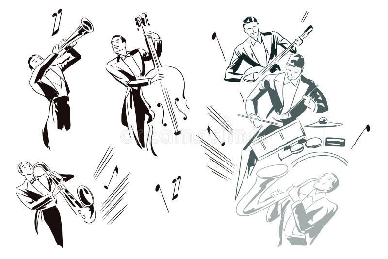 Ilustração conservada em estoque Músicos de jazz abstratos ilustração do vetor