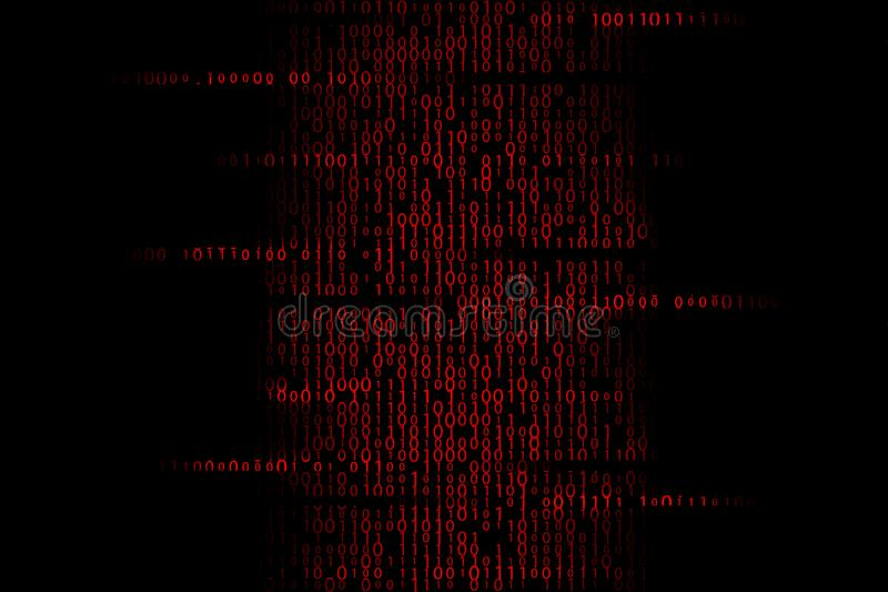 Ilustração contaminada vermelho do código binário ilustração stock