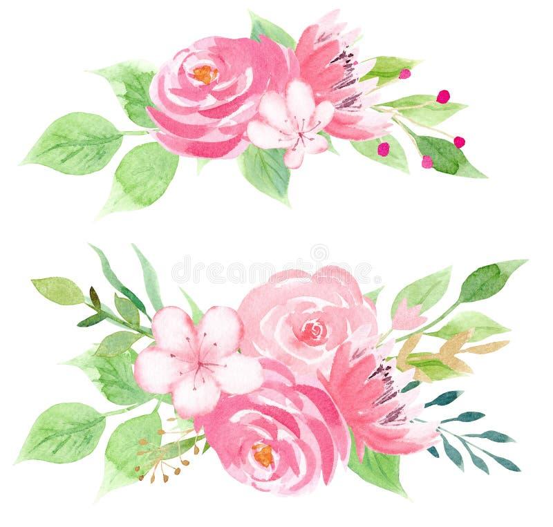 Ilustração cor-de-rosa bonita da quadriculação das flores ilustração stock