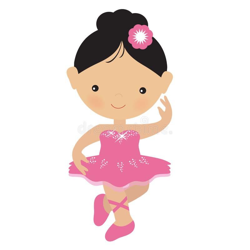 Ilustração cor-de-rosa bonito do vetor da bailarina ilustração do vetor