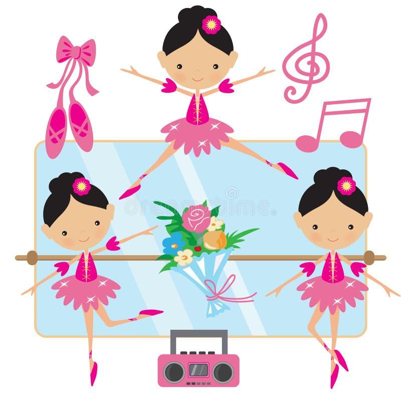 Ilustração cor-de-rosa bonito do vetor da bailarina ilustração royalty free