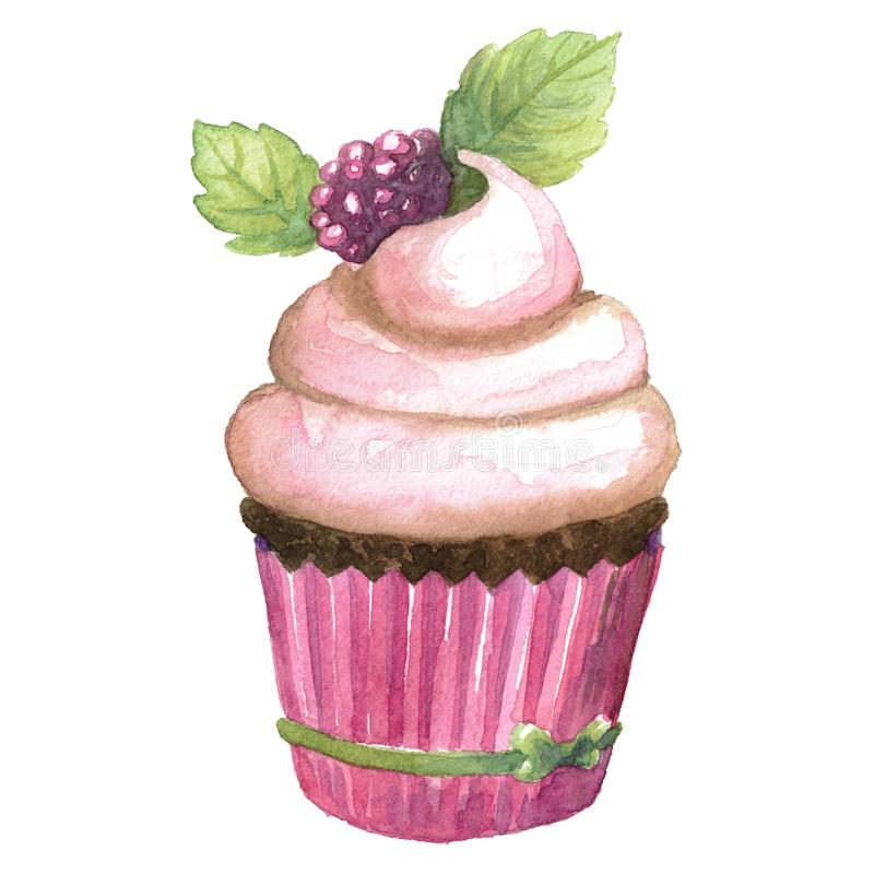 Ilustração cor-de-rosa da aquarela do deserto do chocolate do queque imagens de stock royalty free