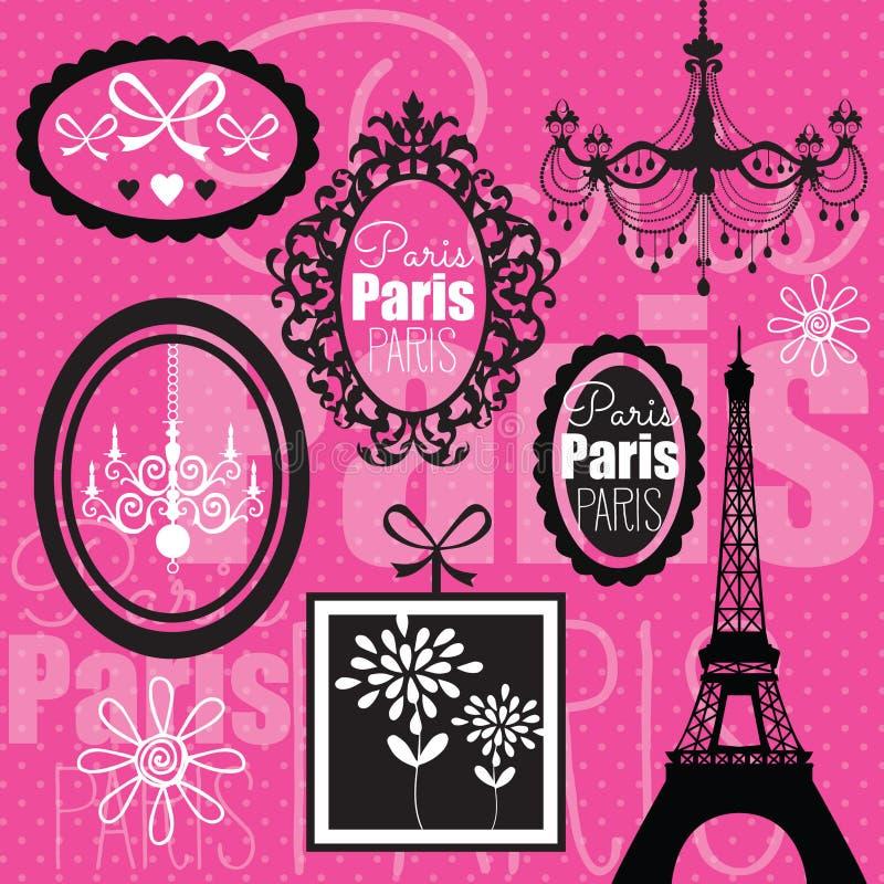 Ilustração cor-de-rosa do projeto de Paris ilustração royalty free