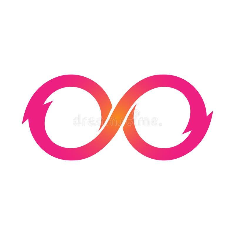 Ilustração cor-de-rosa do vetor dos ícones do símbolo da infinidade Ilimitado, limite ilustração do vetor