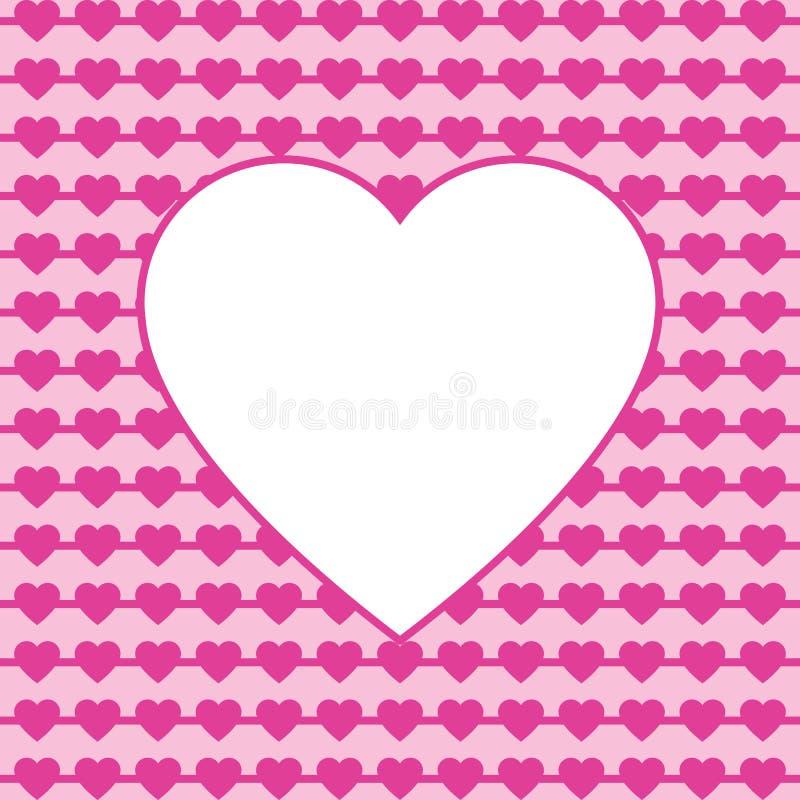 Ilustração cor-de-rosa dos corações com quadro para o texto O dia de Valentim e o dia de mãe, beira do cartão do dia das mulheres ilustração royalty free