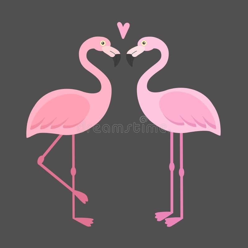 Ilustração cor-de-rosa dos flamingos do vetor ilustração stock