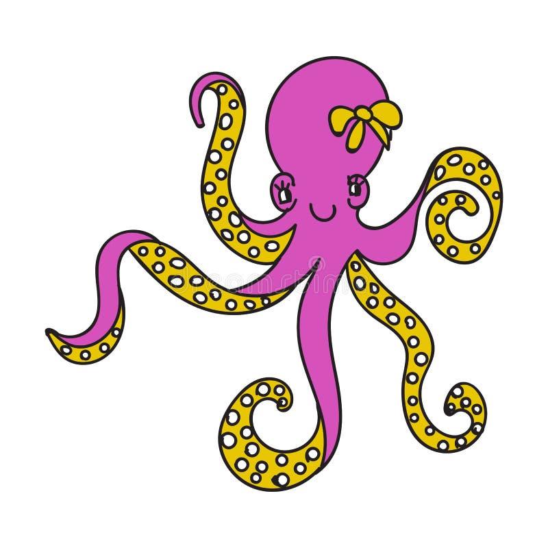 Ilustração cor-de-rosa feliz do polvo da menina dos desenhos animados bonitos ilustração royalty free