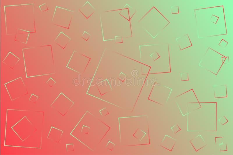 Ilustra??o cor-de-rosa-verde brilhante do vetor, que consiste em quadrados de tamanhos diferentes ilustração royalty free