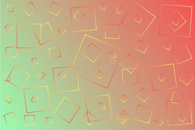 Ilustra??o cor-de-rosa-verde brilhante do vetor, que consiste em quadrados de tamanhos diferentes ilustração do vetor
