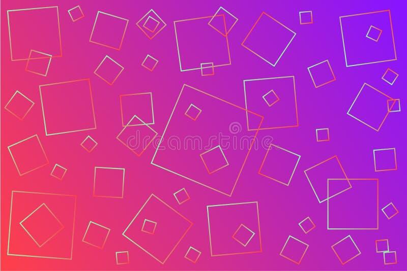 Ilustração cor-de-rosa-violeta brilhante do vetor, que consiste em quadrados de tamanhos diferentes ilustração stock