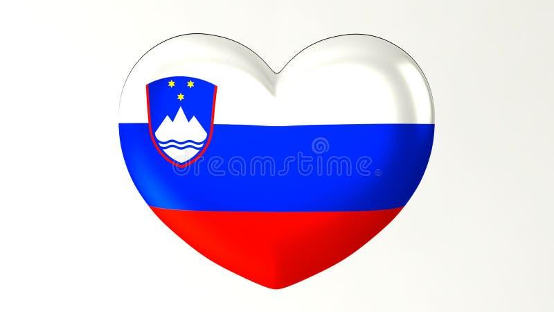 ilustração Coração-dada forma da bandeira 3D eu amo Eslovênia ilustração royalty free