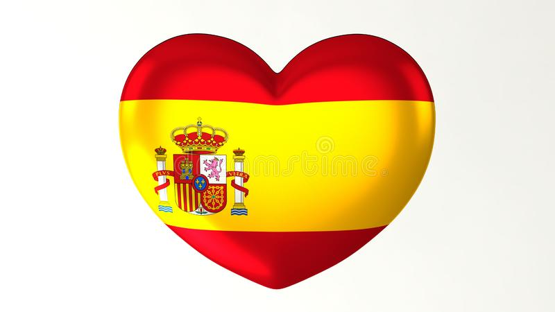 ilustração Coração-dada forma da bandeira 3D eu amo a Espanha ilustração royalty free