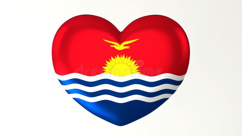 ilustração Coração-dada forma da bandeira 3D eu amo Kiribati ilustração royalty free