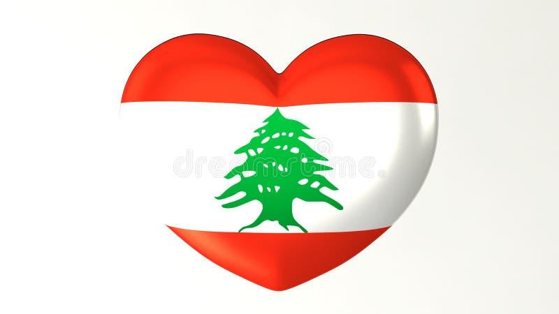 ilustração Coração-dada forma da bandeira 3D eu amo Líbano ilustração stock