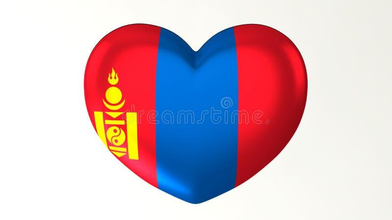 ilustração Coração-dada forma da bandeira 3D eu amo Mongólia ilustração stock