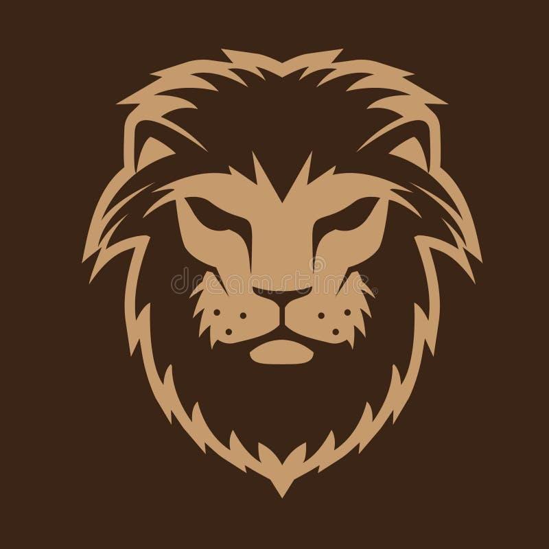 Ilustração corajosa do vetor do logotipo principal do leão ilustração stock