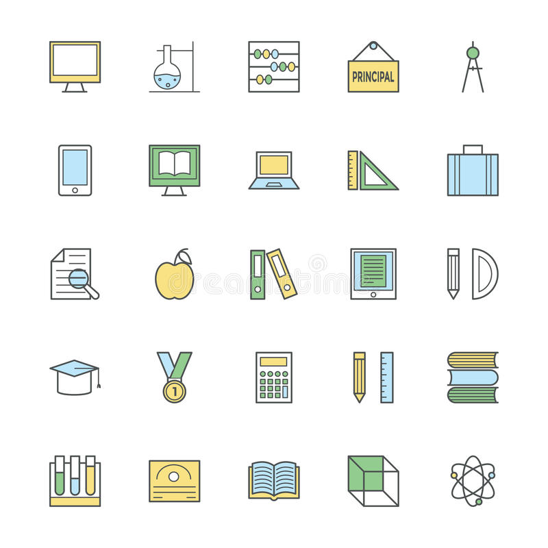 Ilustração corajosa 1 dos ícones da educação ilustração royalty free