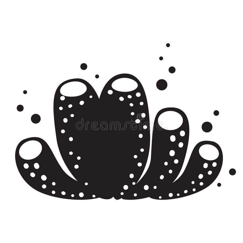Ilustração coral do vetor da silhueta Elementos marinhos do projeto gráfico do logotipo ilustração royalty free
