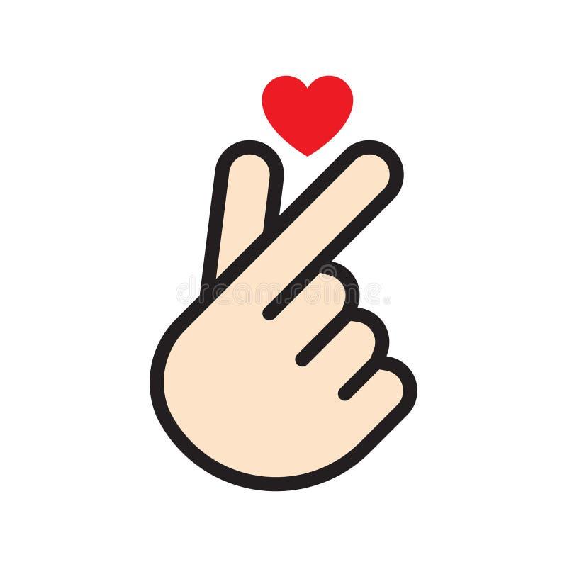 Ilustração coreana do vetor do coração do dedo ilustração do vetor