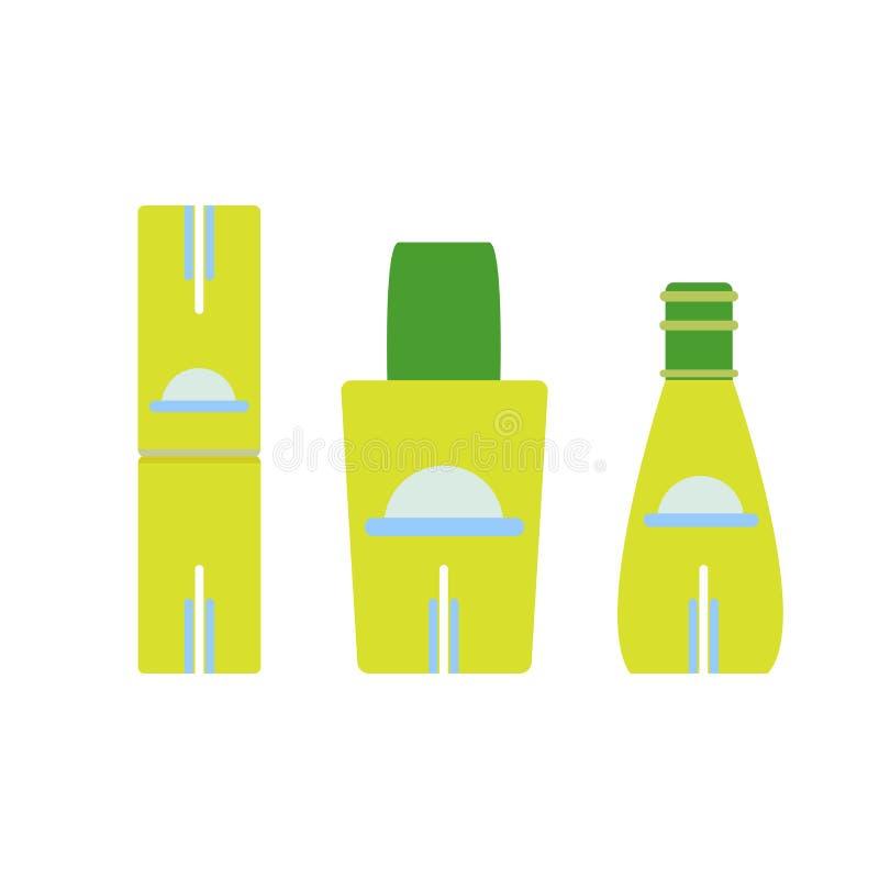Ilustração cosmética do ícone do vetor ajustado da garrafa isolada Projeto de vidro ilustração stock