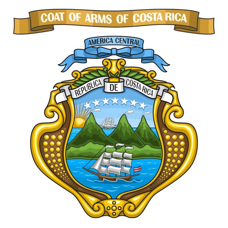 Ilustração Costa Rican Coat do vetor dos braços ilustração stock