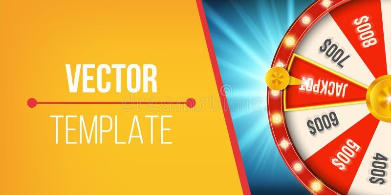 Ilustração criativa da roda de giro da fortuna 3d Jackpot afortunado da vitória da roleta no projeto da arte do casino Gráfico ab ilustração royalty free