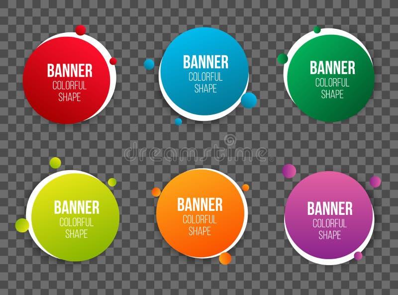A ilustração criativa de caixas de texto coloridas do círculo ajustou-se isolado no fundo A folha de prova colore o desi redondo  ilustração stock