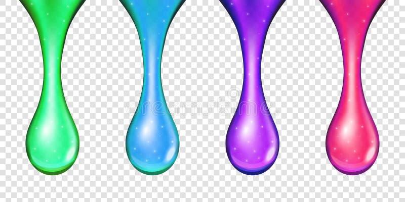 Ilustração criativa do líquido dourado do combustível verde-oliva realístico, gota amarela do vetor do óleo, colagênio efervescen ilustração stock