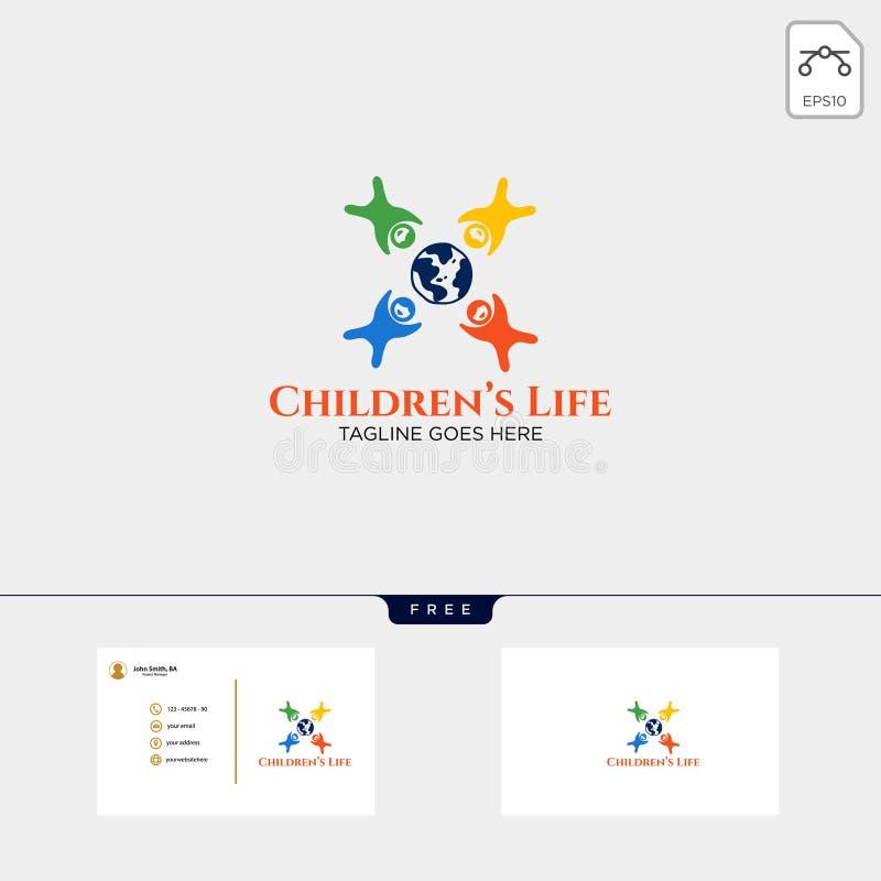 Ilustração criativa do molde do logotipo da vida das crianças com cartão ilustração do vetor