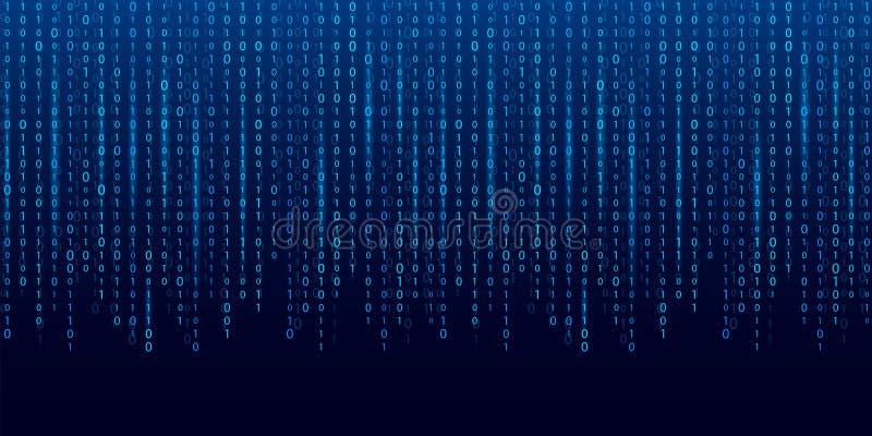 Ilustração criativa do vetor do córrego do código binário Projeto da arte do fundo da matriz do computador Dígitos na tela Sumári ilustração do vetor