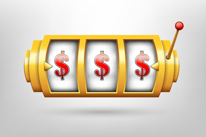 Ilustração criativa do vetor 3d do carretel de jogo, slot machine do casino isolado no fundo transparente Projeto da arte Abst do ilustração do vetor