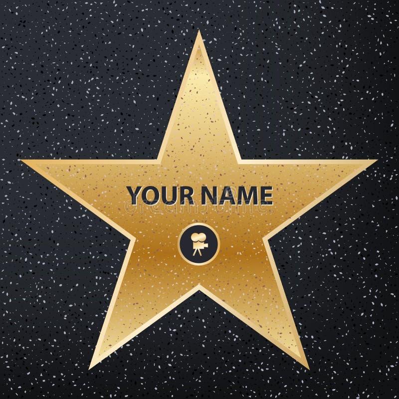 Ilustração criativa do vetor da estrela do ator famoso do passeio Caminhada de Hollywood do projeto da arte da fama Gráfico abstr ilustração royalty free
