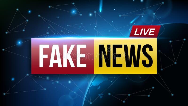 A ilustração criativa do vetor da notícia falsificada vive a tela da televisão de transmissão isolada no fundo transparente Arte ilustração stock