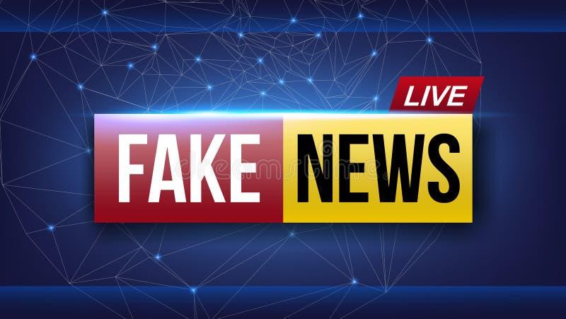 A ilustração criativa do vetor da notícia falsificada vive a tela da televisão de transmissão isolada no fundo transparente Arte ilustração royalty free